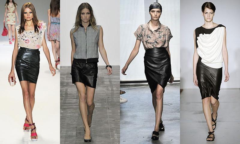 модные кожаные юбки 2016 года фото