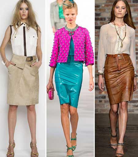 модные фасоны кожаных юбок 2016