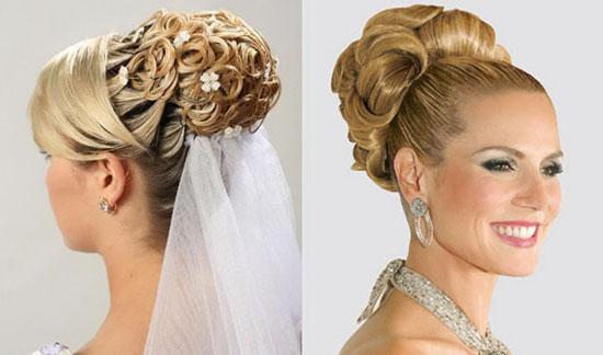 Свадебные причёски высокие с фатой