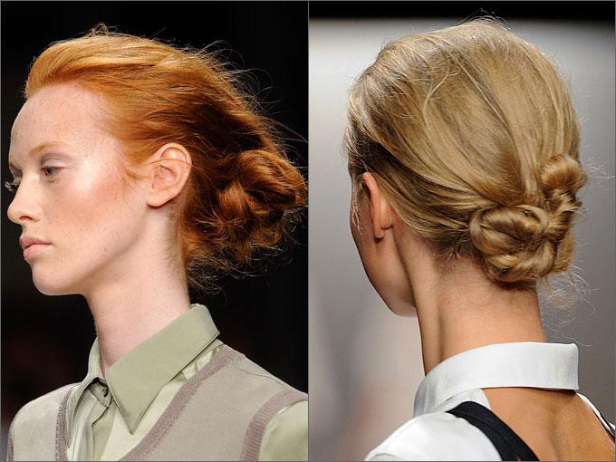 строгие прически на средние волосы