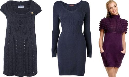 Зимние стильные вязаные платья