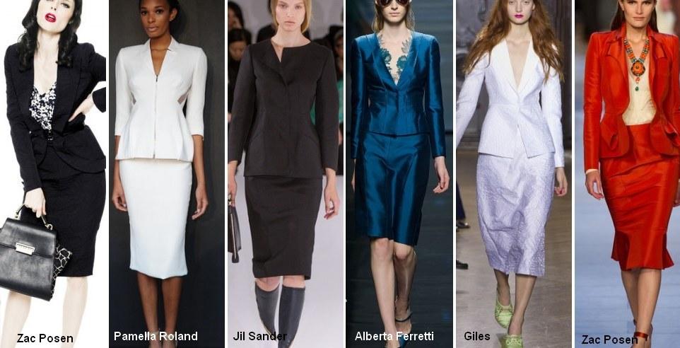 Геометрические принты как отделка женских костюмов