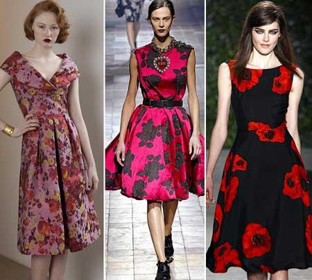 Цветочные принты на платьях 2016
