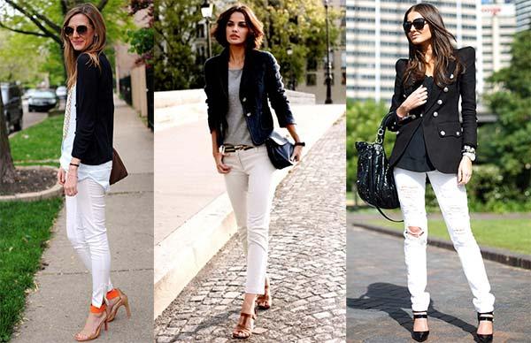 белые джинсы с черным верхом