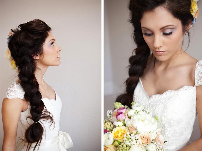 коса из трех прядей на свадьбу