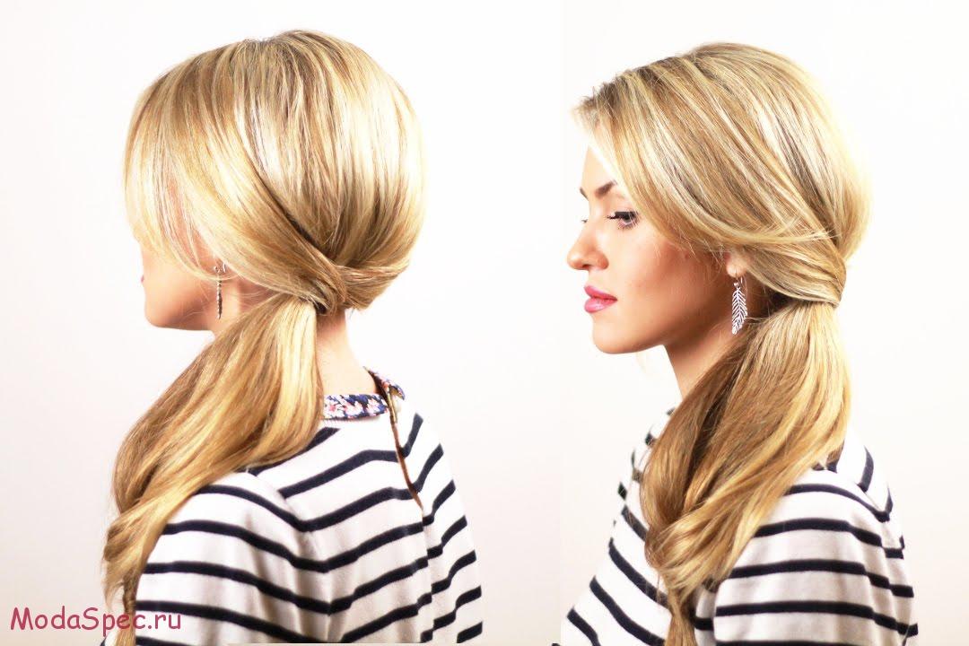 прически на средние волосы хвост на бок